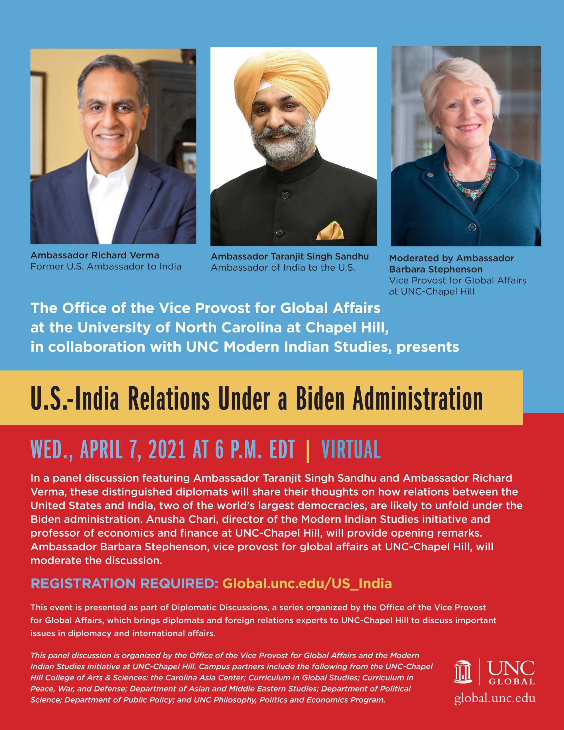 Pictures of Ambs. Richard Verma, Taranjit Singh Sandhu, and Barbara J. Stephenson atop a flyer for the event